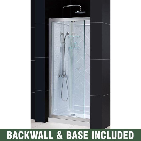 Dreamline Butterfly 32 In D X 32 In W X 76 3 4 In H Sliding Bi Fold Shower Door Shower Base And Backwall Kit 32 X 32 Bifold Shower Door Shower Doors Shower Base