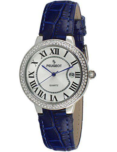 Peugeot Women's 3043SBL Silver Crystal Bezel Blue Leather Strap Analog Display Quartz Blue Watch #deals