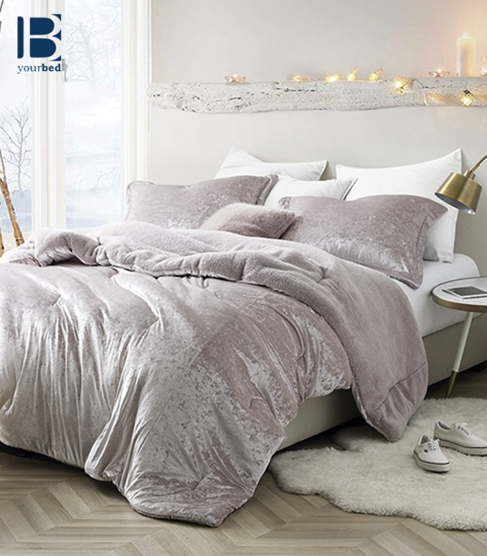 Best Coma Inducer Queen Oversize Comforter For Queen Size Bed Stylish Champagne Pink Soft Queen Bedding Velvet Crush Comfortable Bedroom Pink Comforter Comforter Sets