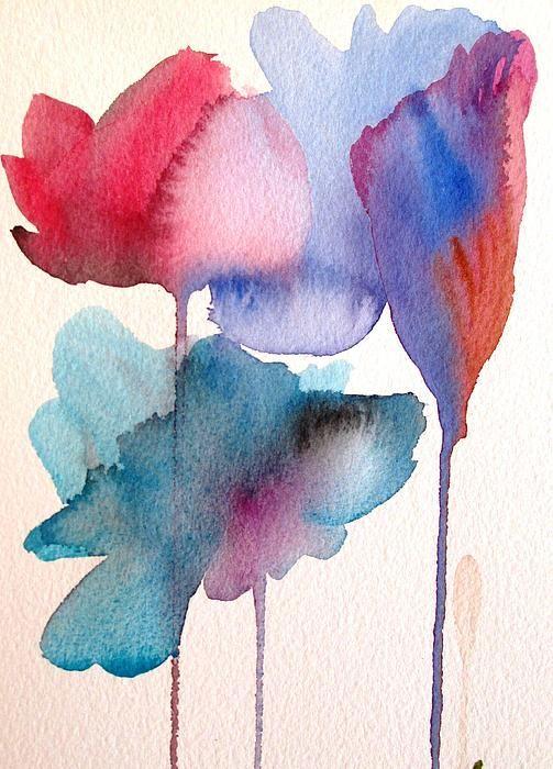 Fluid Blue Flowers Watercolour Art By Sacha Grossel Foto