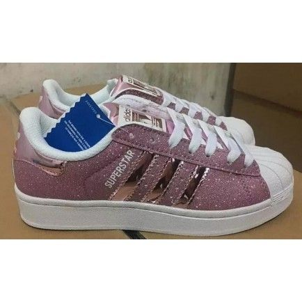 huge selection of ff513 9d14c Adidas Superstar White Purple Glitter Shell Toe Womens Trainers - Superstars