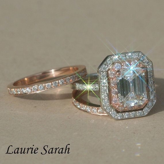 Rose Gold and Platinum Engagement Ring Emerald Cut Diamond Wedding