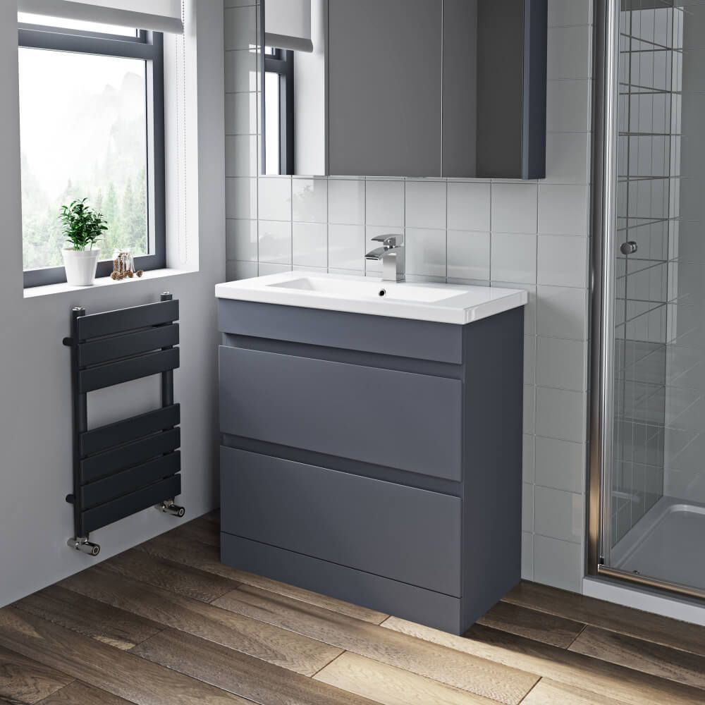 Artis Grey Gloss Floor Standing Drawer Vanity Unit - 11mm