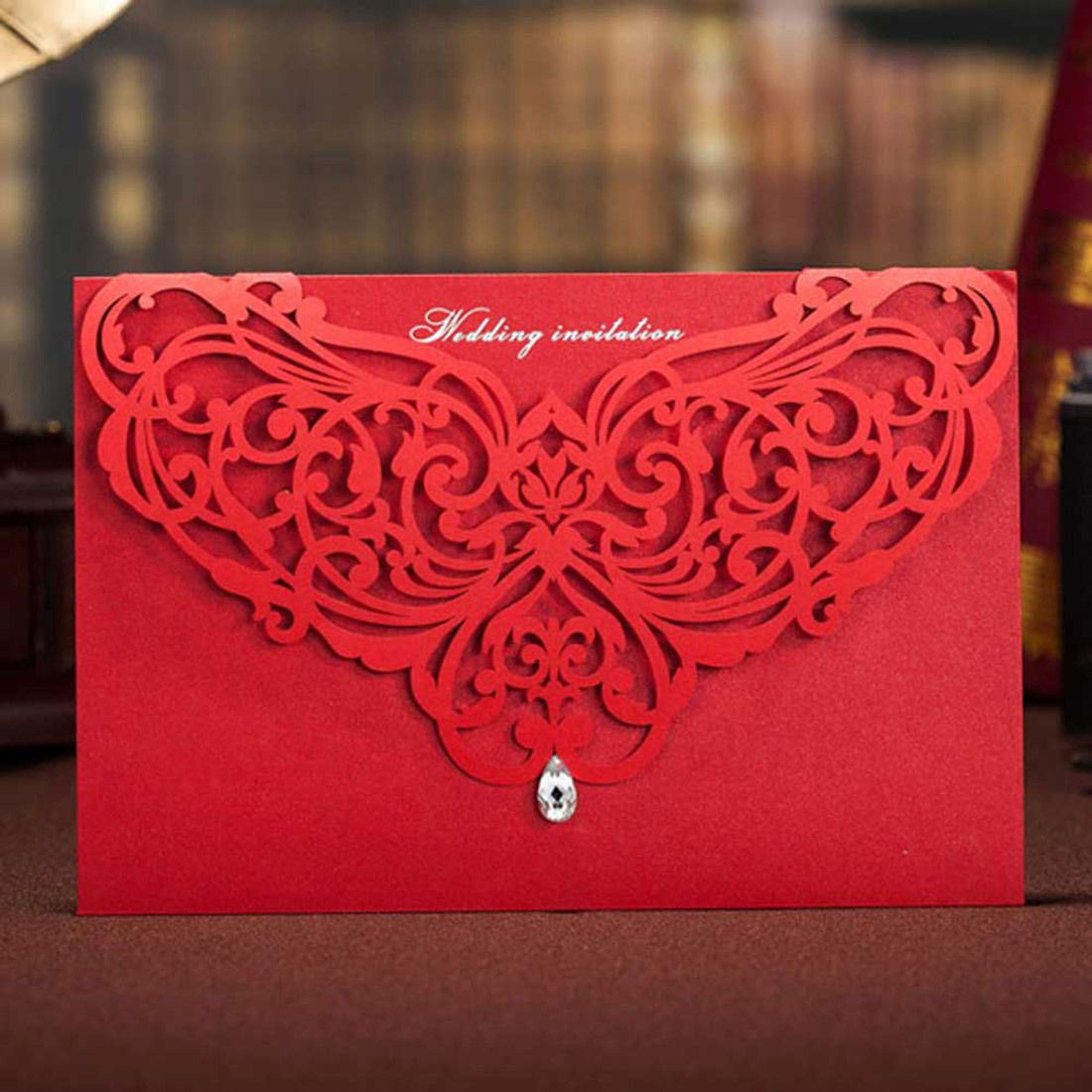 Red Laser Cut Wedding Invitation Cards Unique Design Free ...