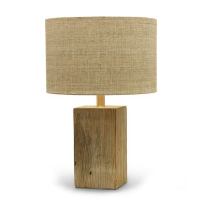 Driftwood Square Lamp Recycled Wood Base Topped With Natural And Brown Raffia Rectangle Shade Banana Bark Finial Will Vary In Color Grain