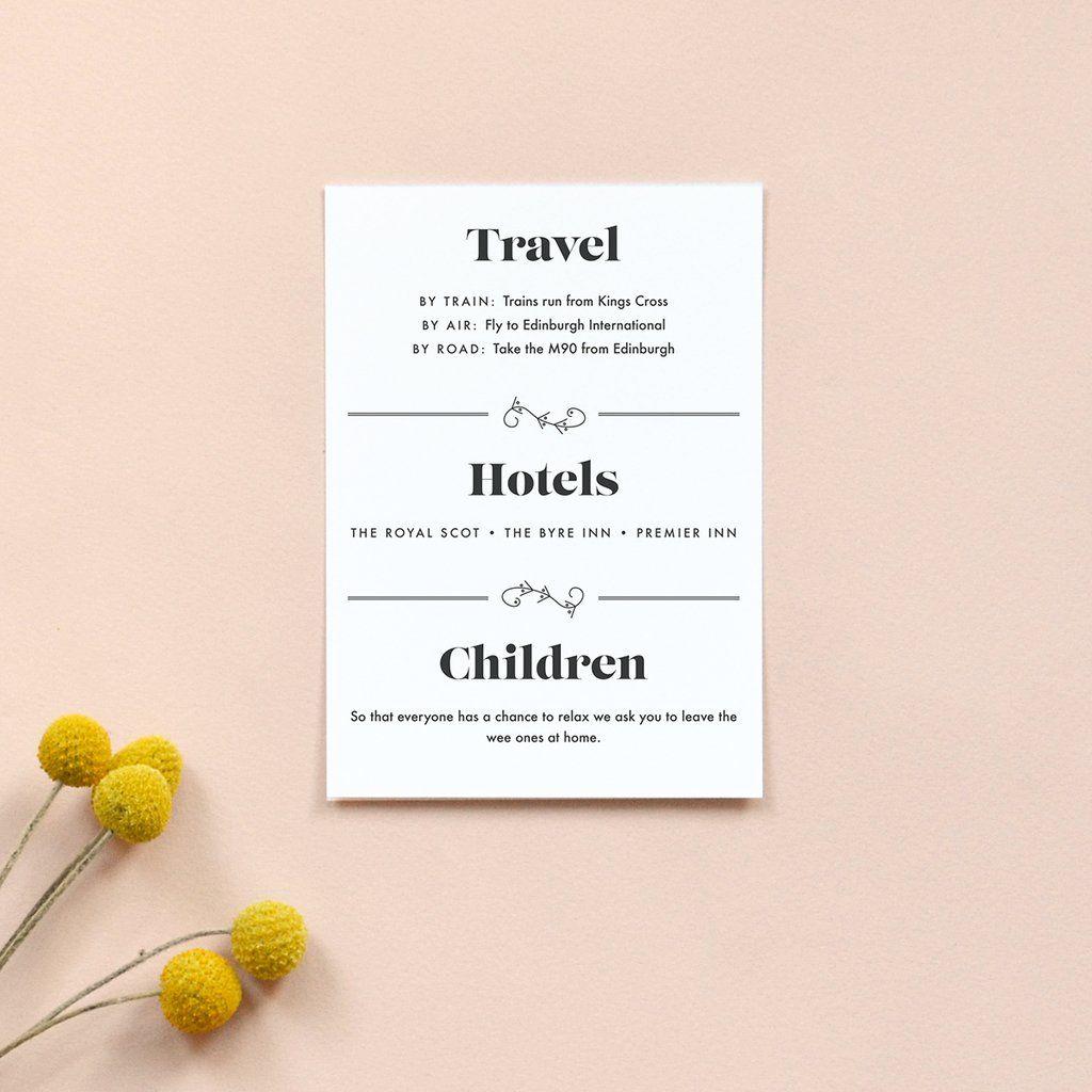 Personalised Wedding Information Card | Gin | Gin, Modern wedding ...