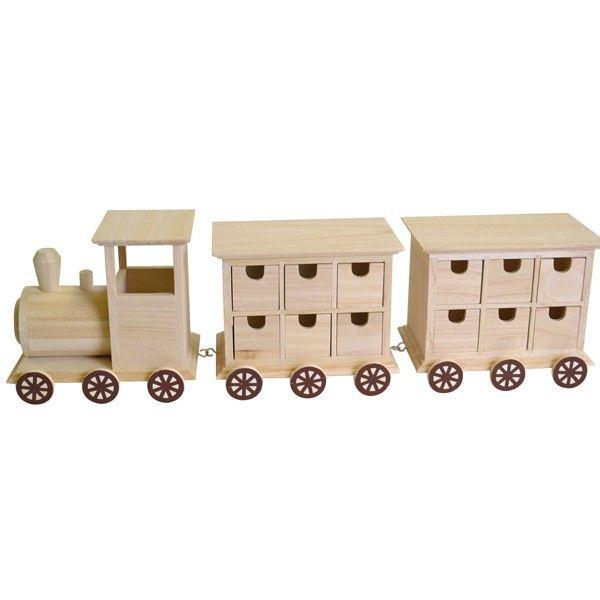 Calendrier De Lavent En Bois A Decorer Pas Cher.Support Bois A Decorer Train En Bois 58cm 24 Tiroirs