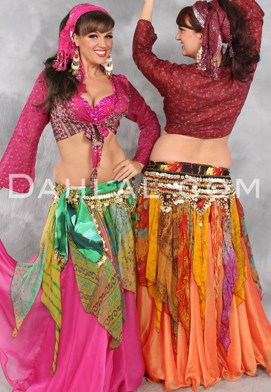 MULTI-COLORED, PRINTED CHIFFON HANDKERCHIEF OVERSKIRT WITH SMOCKED HIPS,  for Belly Dance