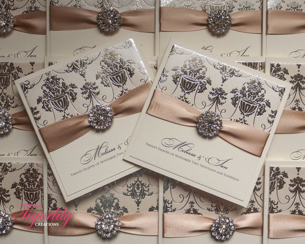 Regency by www.tigerlily-creations.co.uk #wedding #invitations #glamour #classic #foil #vintage #shiny #sparkle #crystal