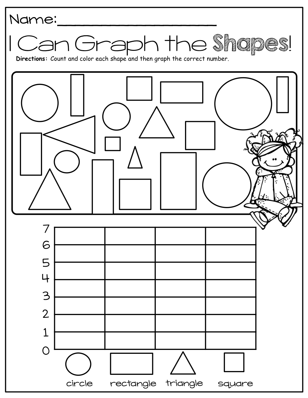Fine Motor Coloring Control And Math Love It I Can Graph Shapes Preschool Math Kindergarten Math Graphing Worksheets