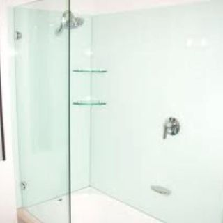 Glass splashback used in the shower instead of tiles i - Bathroom wall covering instead of tiles ...