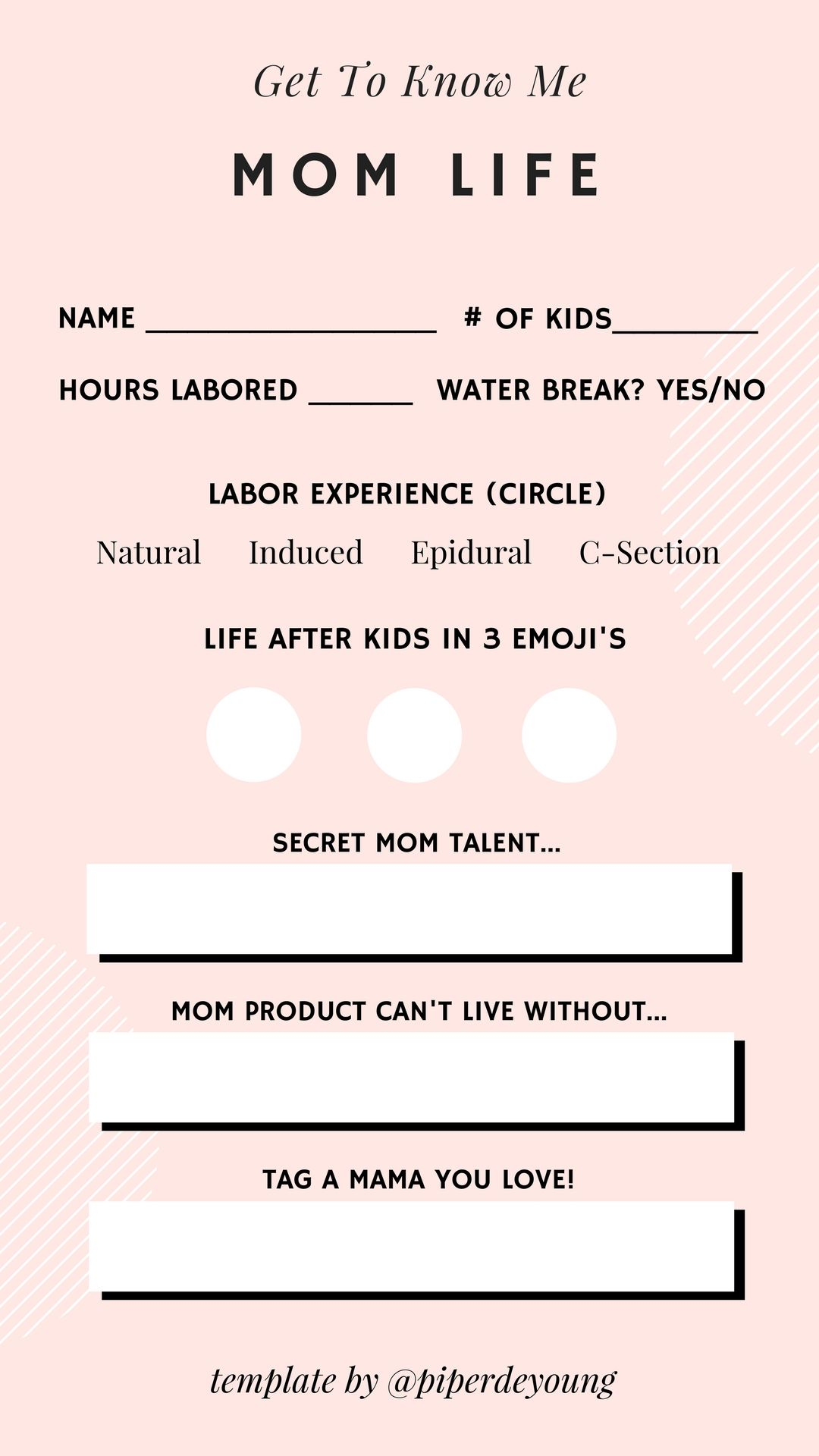 Instagram Story Template By Piper De Young Mom Life