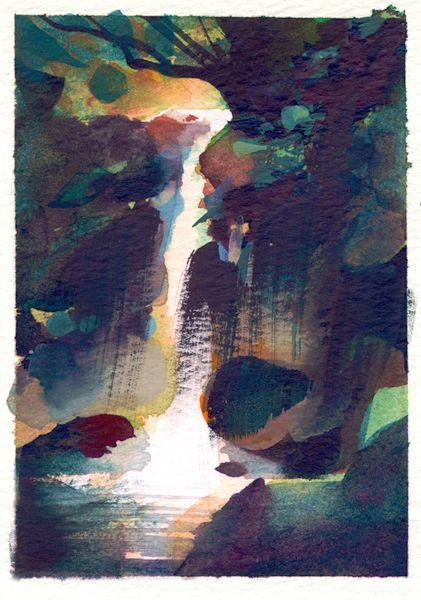 Nathan Fowkes Land Sketch: Costa Rican Waterfall