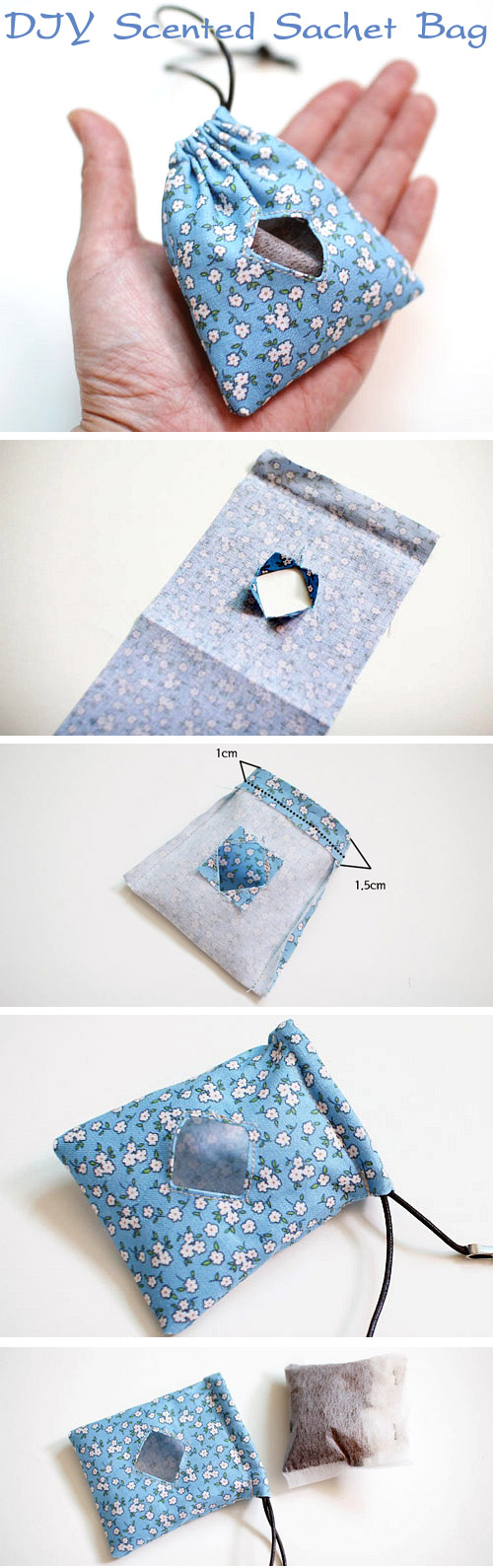 DIY: Scented Sachet Bag Tutorial. Craft Ideas. Step-by-Step Tutorial   http://www.handmadiya.com/2015/11/diy-scented-sachet-bag-tutorial.html