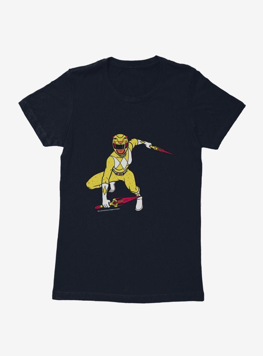 Mighty Morphin Power Rangers Yellow Ranger Crouch Womens T-Shrt