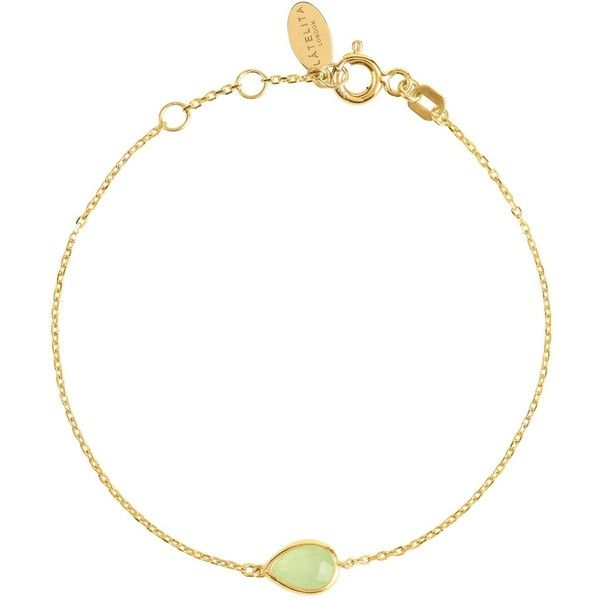 Latelita London Pisa Mini Teardrop Bracelet Gold Aqua Chalcedony AmOgu8OPT