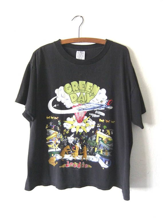 313e61b2 Green Day Dookie T Shirt - 90s Bay Area Punk Rock Concert Tour Vintage Tee  - Super Boxy fit Distress