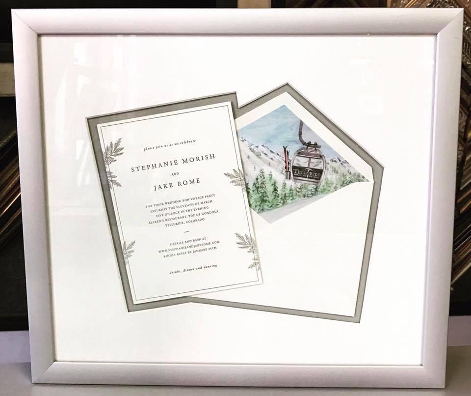 Custom framed wedding invitation with linen matting cut around the ...