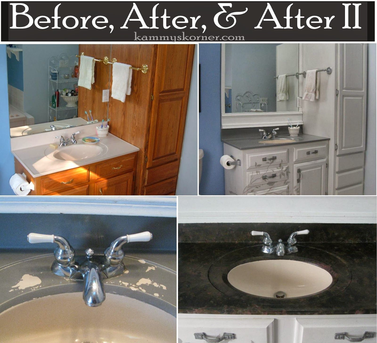Kammy's Korner: Painting A Porcelain Vanity Countertop with DIY chalk paint  {New And Improved