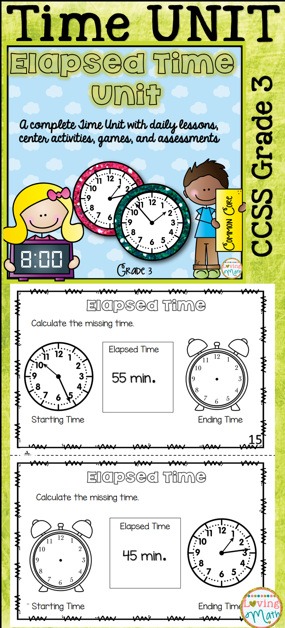 Elapsed Time Unit Telling Time Elapsed Time Elapsed