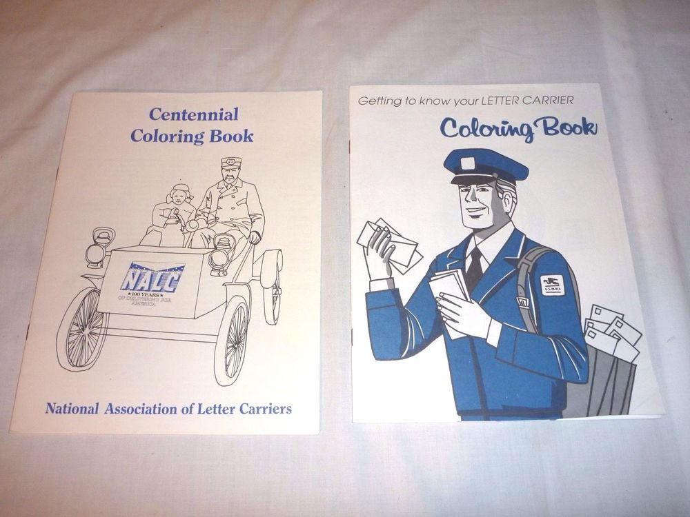 Pr Vtg Coloring Books Unused National Asso Of Letter Carriers Nalc Crayons And Book Borrego