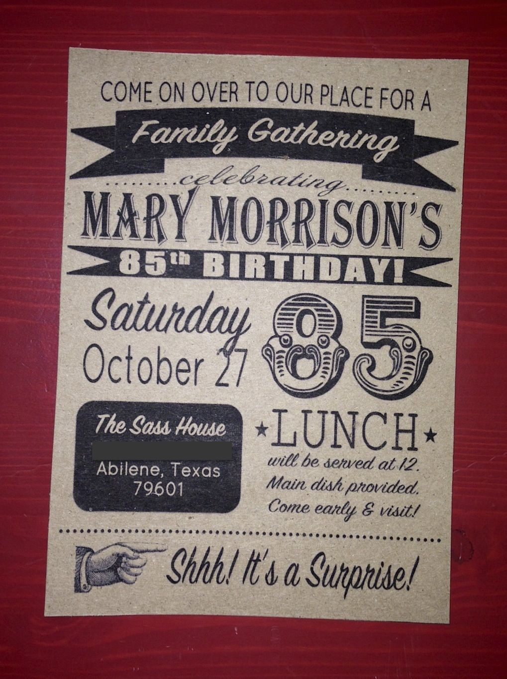 Surprise Party Invitation | ayreshome.blogspot.com | Pinterest ...