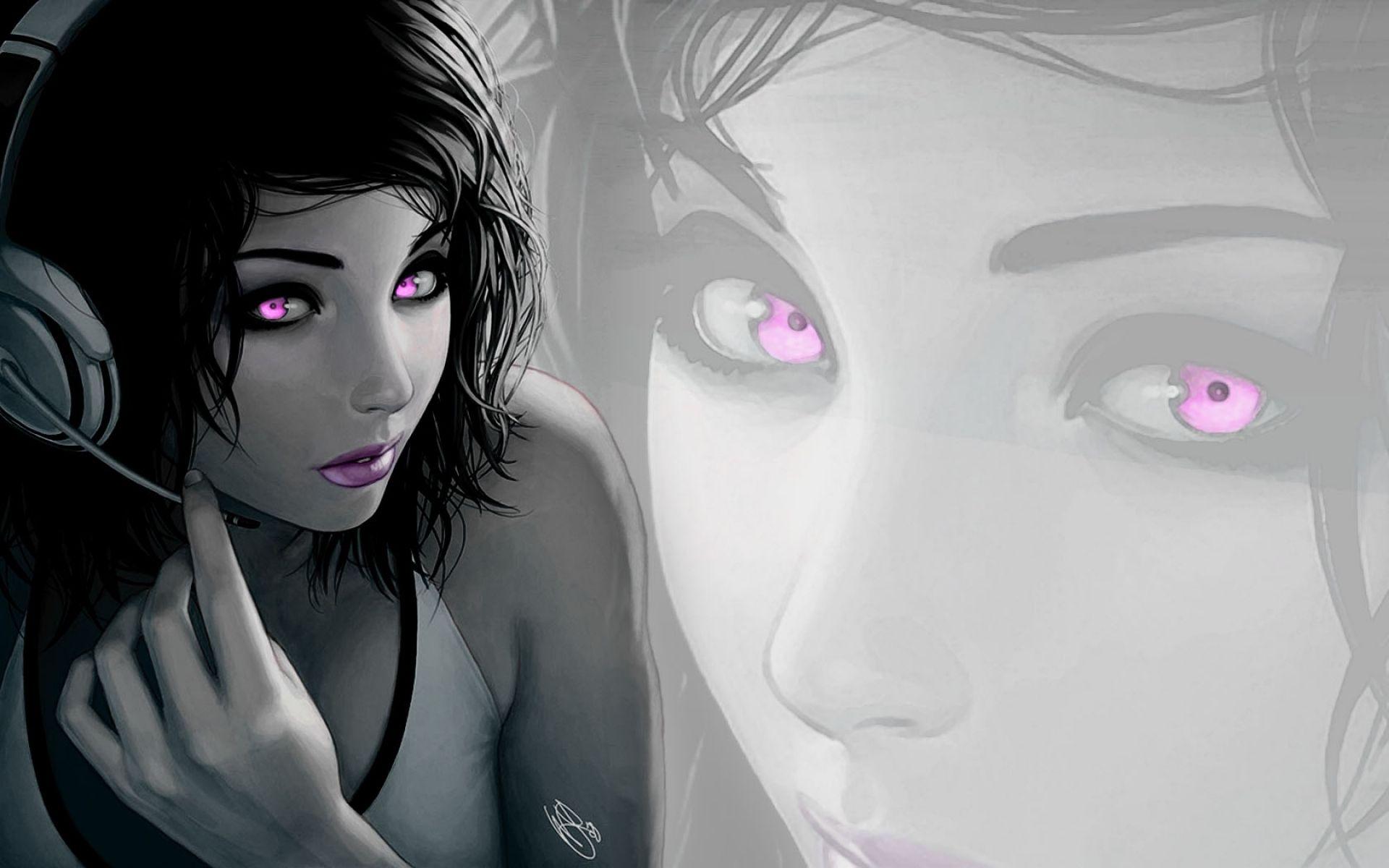 Headphones Brunettes Women Headphones Girl Lipstick Selective Coloring Purple Eyes 1680x1050 Wall High Quality Wallpaper