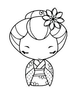 Cute Japanese girl in a kimono to print and color in