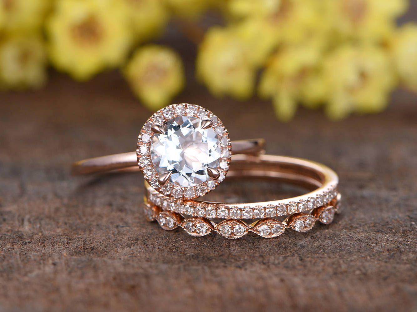 2be652e6984b90 6.5mm round cut 1ctw VS Aquamarine engagement ring set,3pcs diamond rings,solid  14K rose gold,Deco half eternity diamond band,marquise style