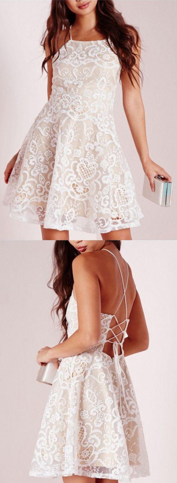Modern white lace halter sleeveless crisscross straps short