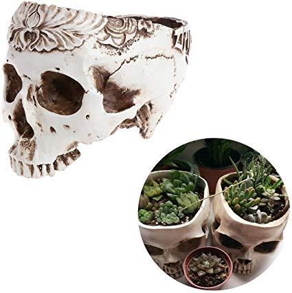 Timberlark Resin Realistic Skull Head Model Flower Pot Planter Container Home/Garden/Bar Ornament,  #Container #Flower #HomeGardenBar #model #ornament #Planter #Pot #realistic #Resin #Skull #tallgardenpot #Timberlark