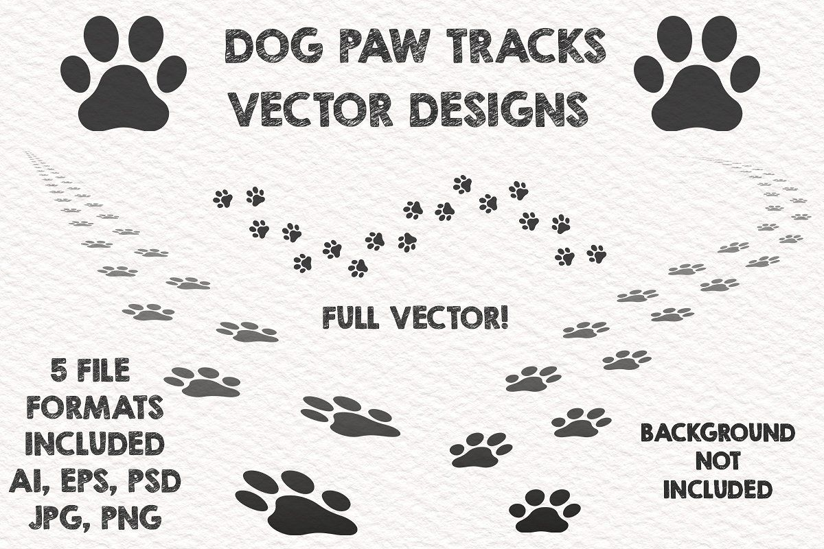 3 Dog Paw Vector Tracks Design Trailsprintsfadingwalking