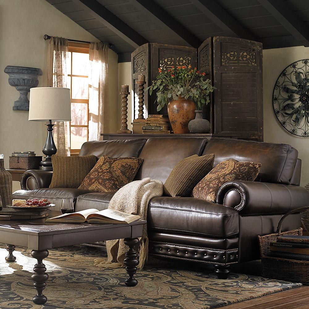 Brown Couch Living Room Design: Leather Living Room