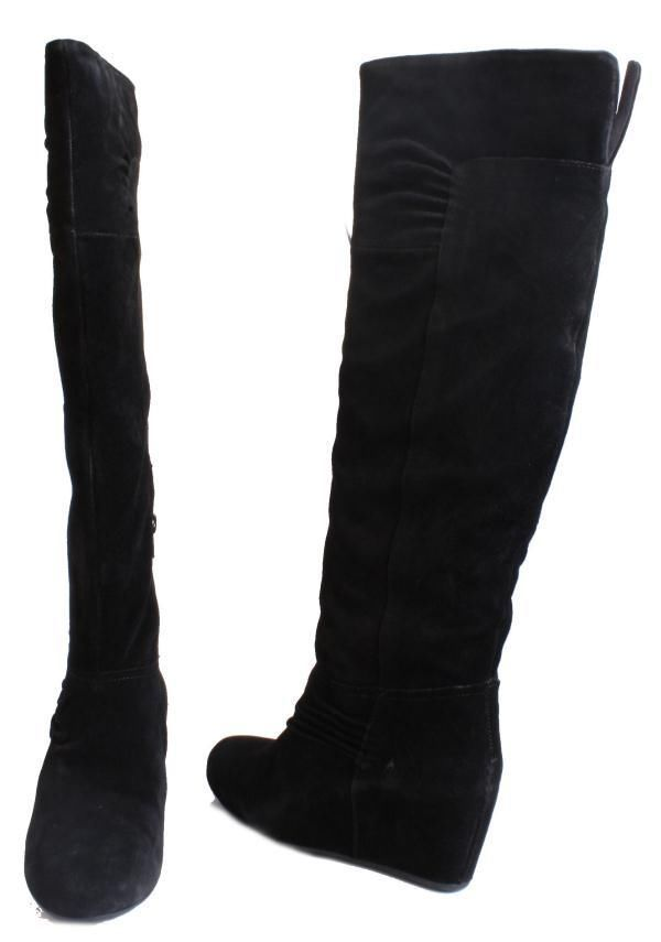 Details about Nine West Amelie Womens Black Suede Knee High Wedge ...