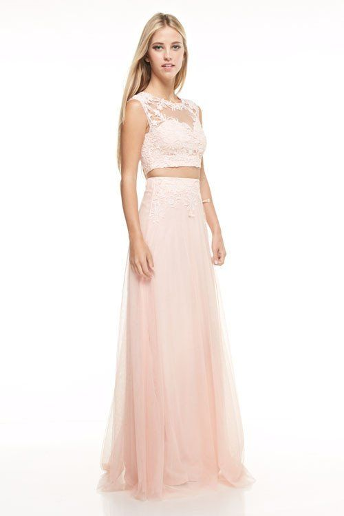 3c2add6feb7 Affordable 2 piece Lace Crop Top and Tulle Skirt Bridesmaid Dress ...
