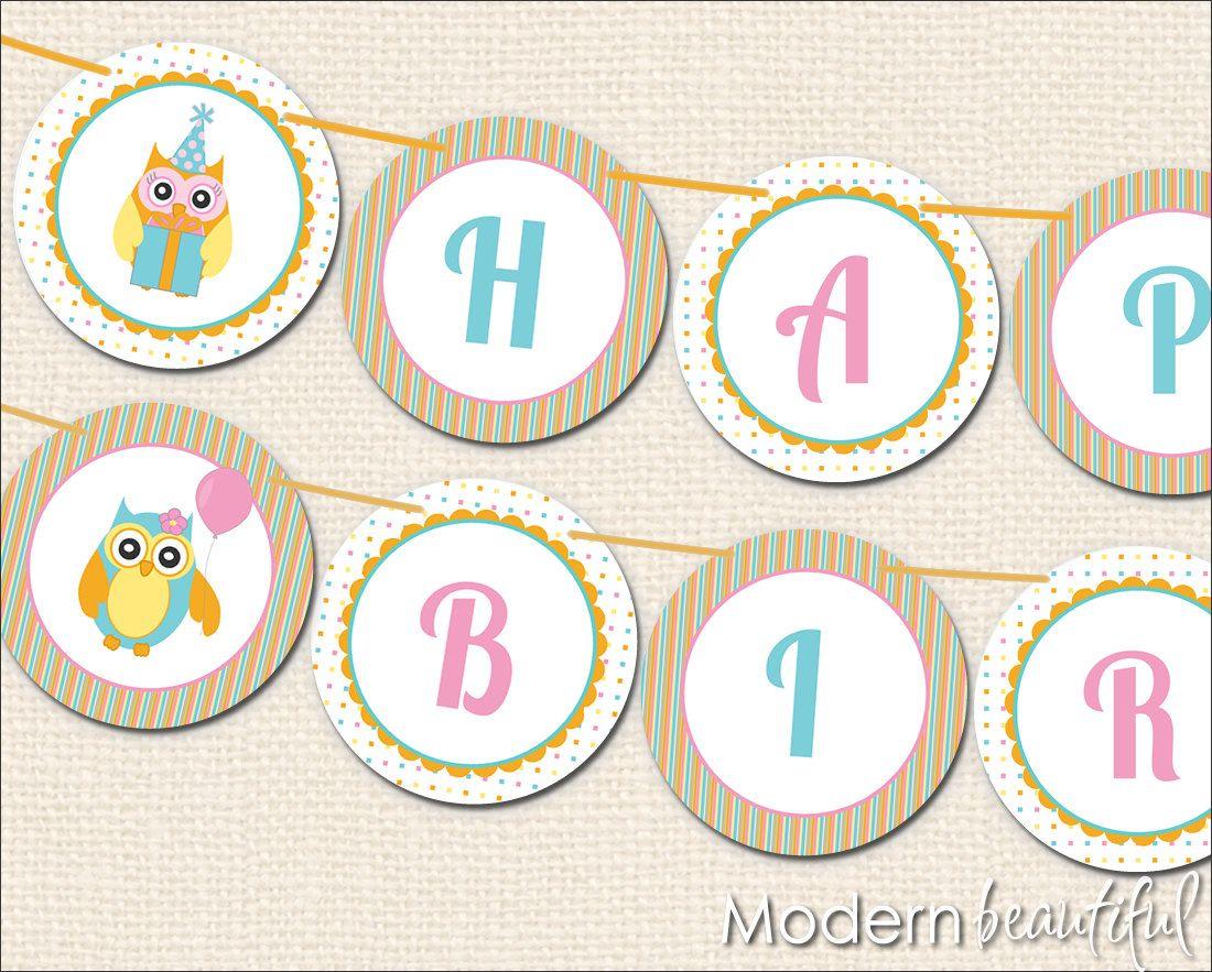 birthday banner printable free | Owl Party Printable Happy ...