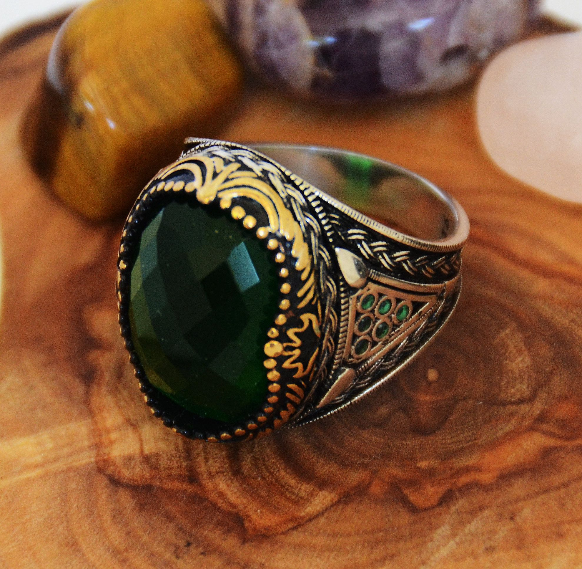 Women/'s Ring gift for her Turkish Handmade Ring Emerald Ring 925k Sterling Silver free shipping ottoman style authentic ring