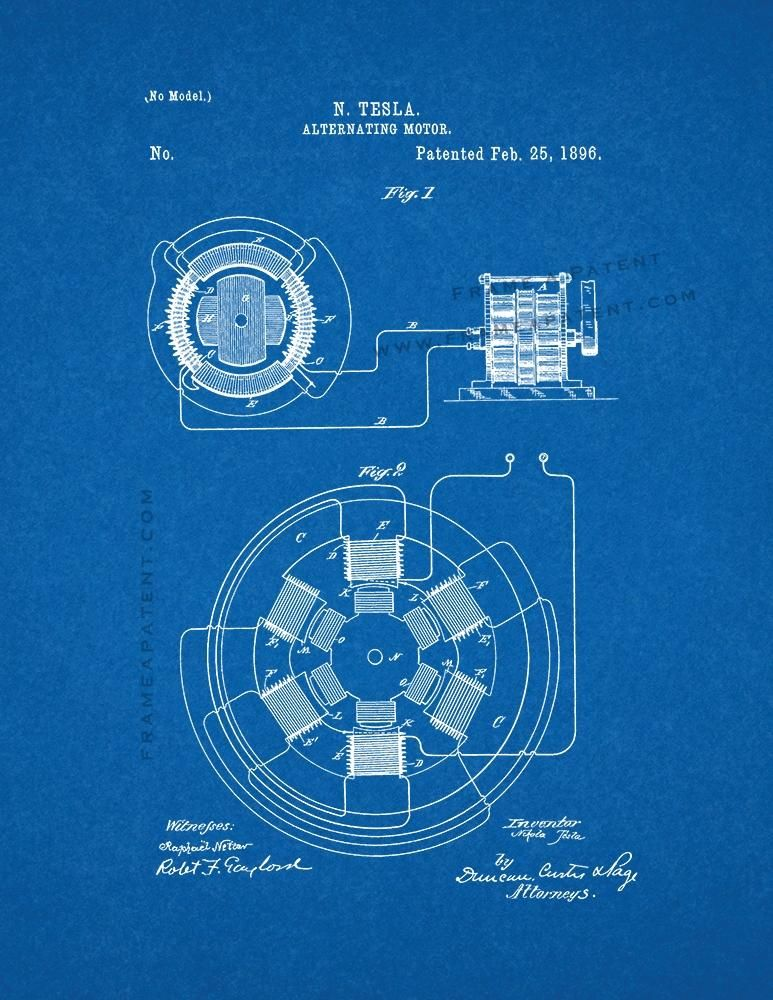 Tesla Alternating Motor Patent Print - Blueprint (5x7) | Tesla ...