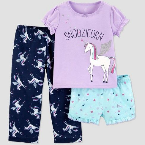 ca2dd9e3ab Baby Girls  3pc Snoozicorn South Pajama Set - Just One You® made by  carter s Lilac 18M   Target