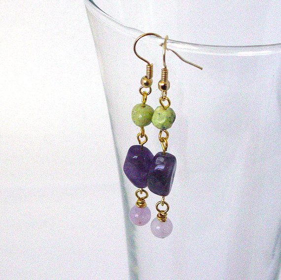 Amethyst and Chrysotine Earrings by Pookledo on Etsy, £4.00