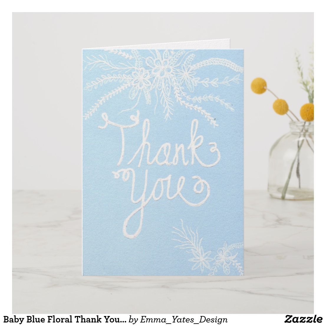 Baby Blue Floral Thank You Card