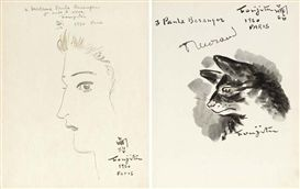 Artwork by Tsuguharu Foujita, Drawing, lithograph, two self-portrait photographs and book