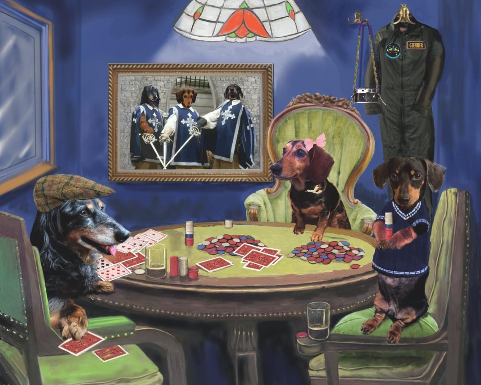 Poker Dogs Custom Pet Portrait Digital Painting On Canvas Dog Etsy Dog Portraits Pet Portraits
