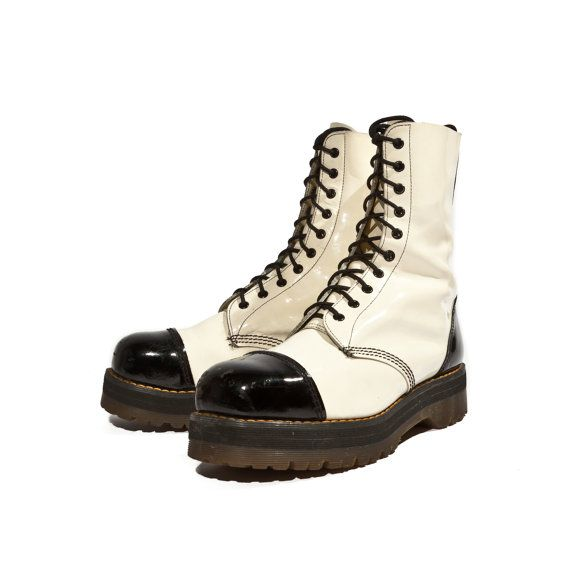 Vintage Dr Marten Boots Black and White Patent Leather Tuxedo Styled Steel Toe Romper Stompers Men's Size UK 10 or US 11 on Etsy, $285.00
