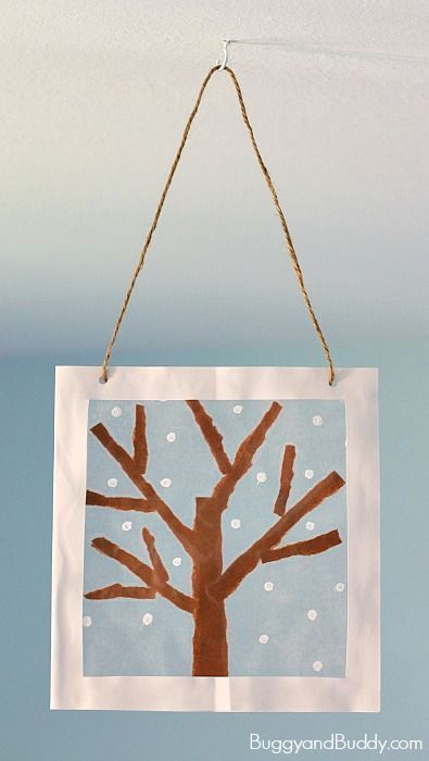 Winter Tree Suncatcher Craft For Kids Using Tear Art And Cotton Swab Painting A Fun