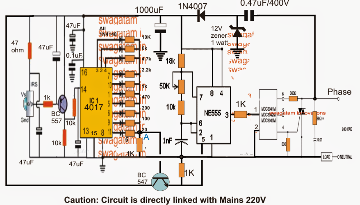 The Article Discusses A Simple Infrared Controlled Fan Regulator Or 4017 Circuit Diagram Dimmer Using Ordinary Parts Such
