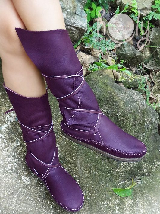 04b2416663a Hand Stitched Purple Leather Moccasins, Moccasin Boots, Womens ...