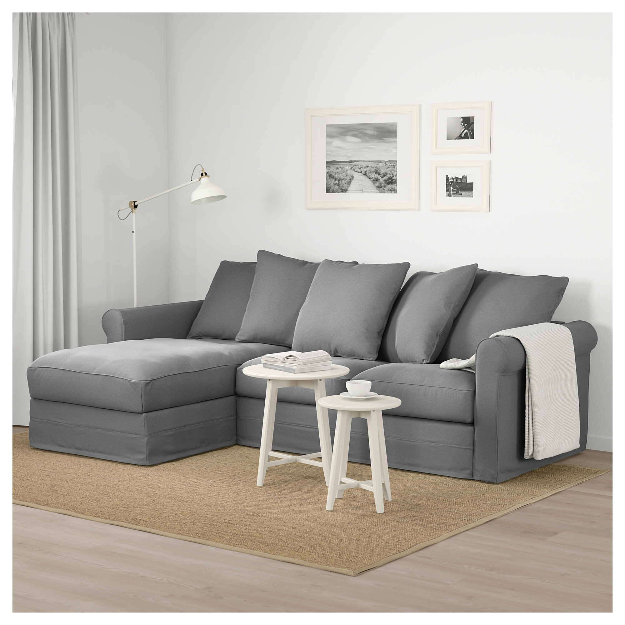 GrÖnlid Sofa With Chaise Ljungen Medium Gray Living Room Sofa Sofa Layout Deep Seat Cushions - Ikea Vorhang Mint