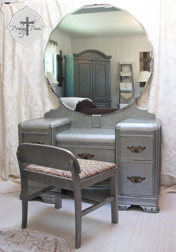 Art Deco Mirrored Dressing Table | Vintage Art Deco Waterfall Dressing Table /Vanity with Bench - Zinc . - Art Deco Mirrored Dressing Table Vintage Art Deco Waterfall