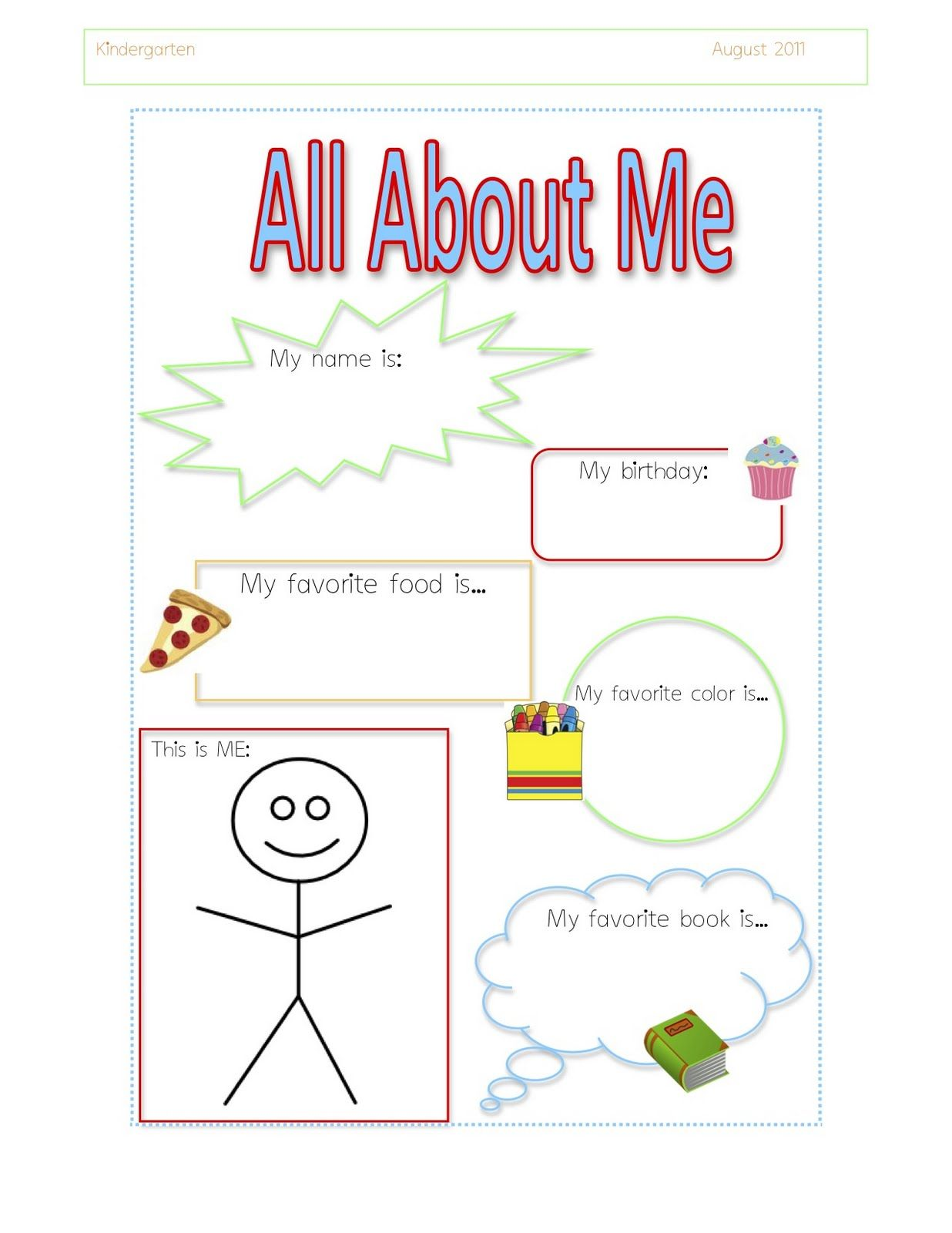 All About Me Theme For Preschoolers